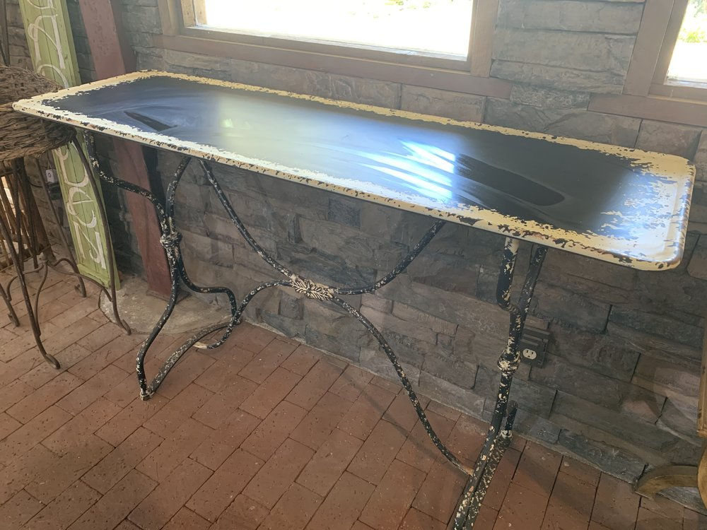 BLACK AND WHITE METAL TABLE - $75