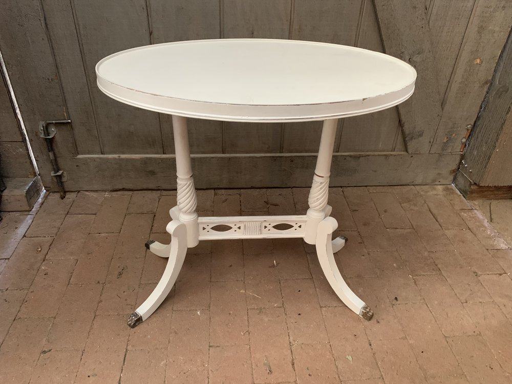 WHITE OVAL ACCENT TABLES (set of 2) $55