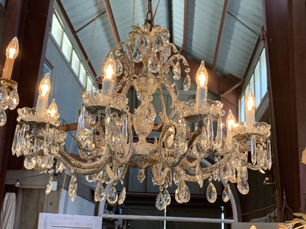 GRAND VINTAGE CRYSTAL CHANDELIER - $75