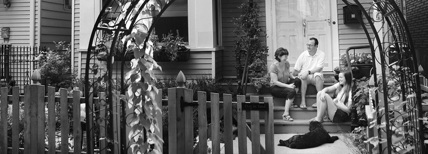 on the porch_BW