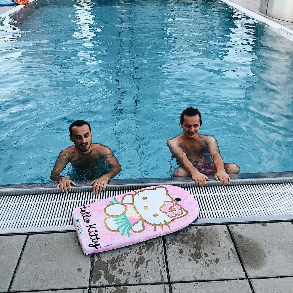 big boys and...their hello kitty board, lol