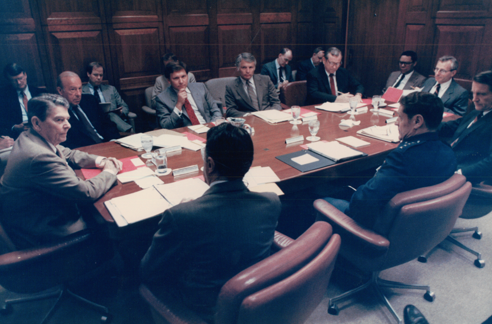 Martin during a Cabinet Meeting in 1985