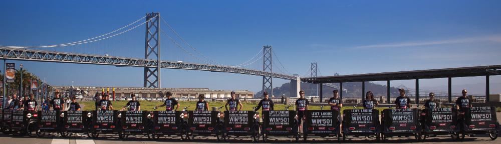 Pedicab Line & San Francisco Bay Bridge