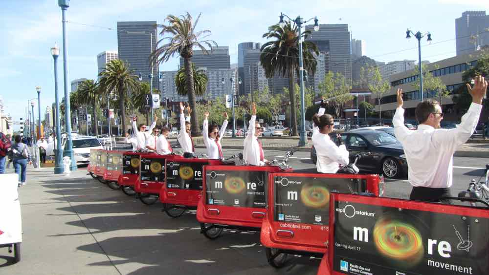 Cabrio Taxi Pedicabs has participated in every Exploratorium Gala since Open!