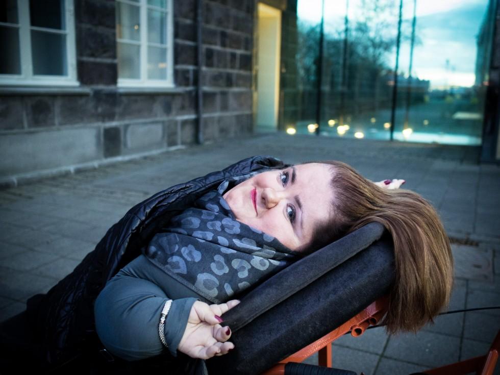 Freyja Haraldsdóttir, MP and Disabled Rights Activist Outside Parliament, Reykjavik Iceland