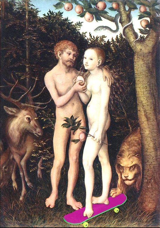 "Image adapted from Lucas Cranach the Elder's ""Adam and Eve"""
