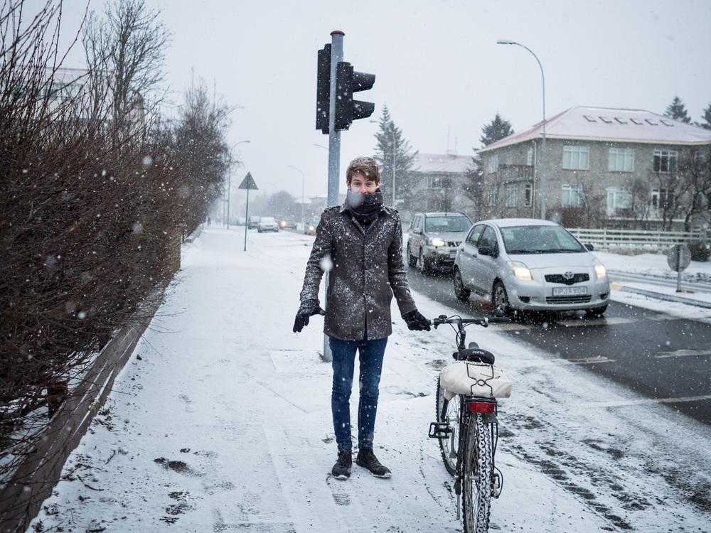 Colm in Snowstorm Vesturbæjarlaug, Reykjavik, Iceland