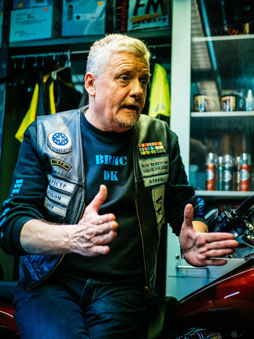 Ove, owner of the smallest Harley Davidson dealership in the world, Chief Master Sergeant in the Danish Airforce, Bombsquad.