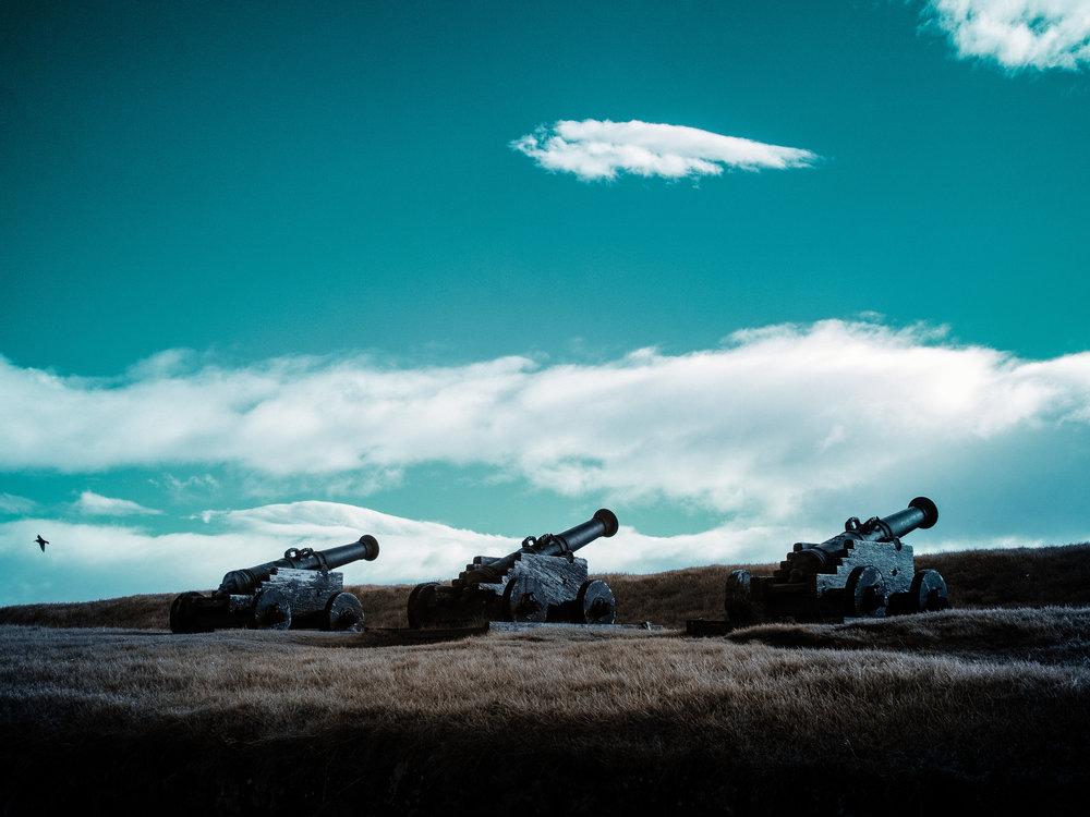 Old Danish canons at fort Sanskin, Tórshavn, Faroe Islands