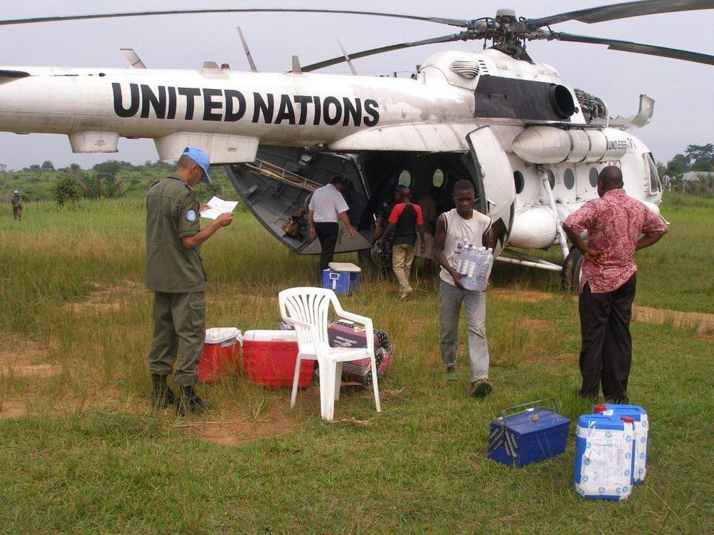 Unloading supplies at Kasongo