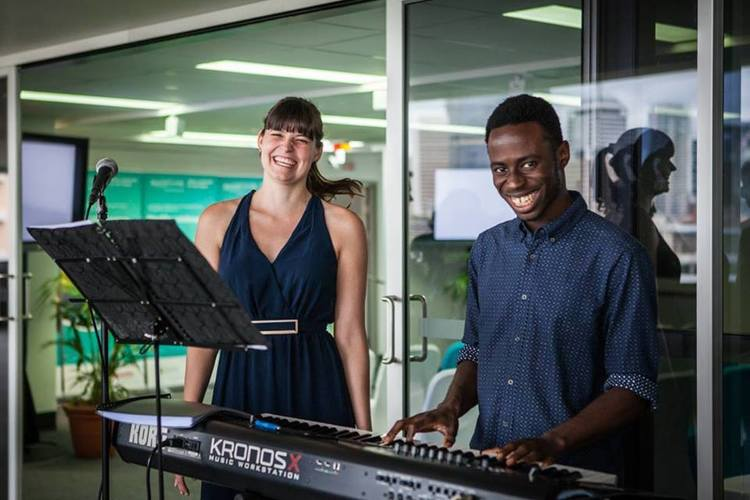 Liz Plumb and Nii Anang   Liz (vocals) and Nii (piano) are a duo with a passion for music. Pursuing their love to further degrees, they apply their artistry to a collection of songs they enjoy, with a particular fondness for jazz.