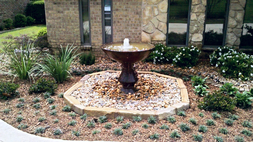 Landscape Bed and Fountain