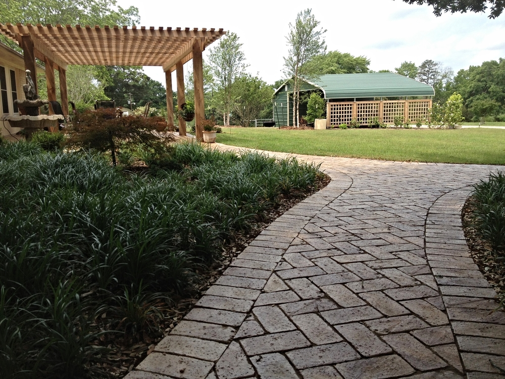 Brick Paver Walk and Pergola