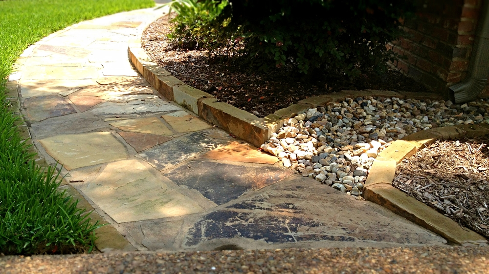 Flagstone and Downspout Drain