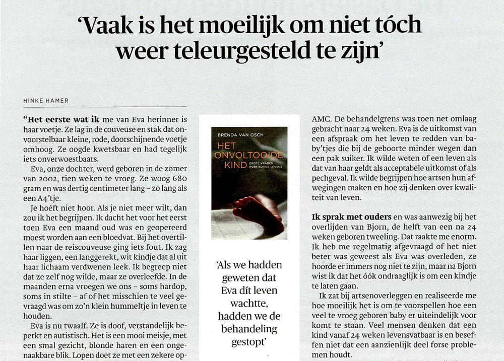 Interviewrubriek 'vandaar dit boek' in  Trouw  31-01-15