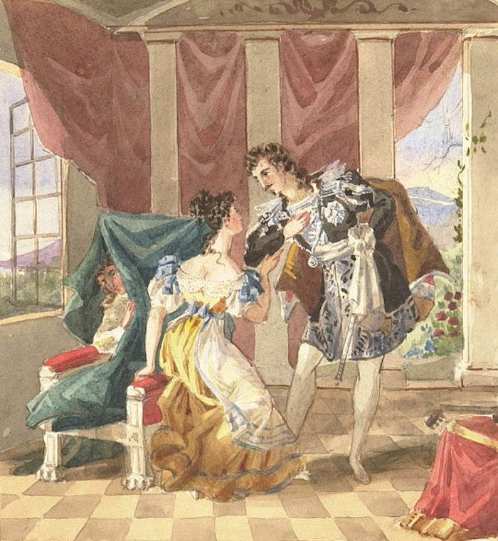 Anonymous watercolour, 19th century: Scene from Mozart's opera Le nozze di Figaro