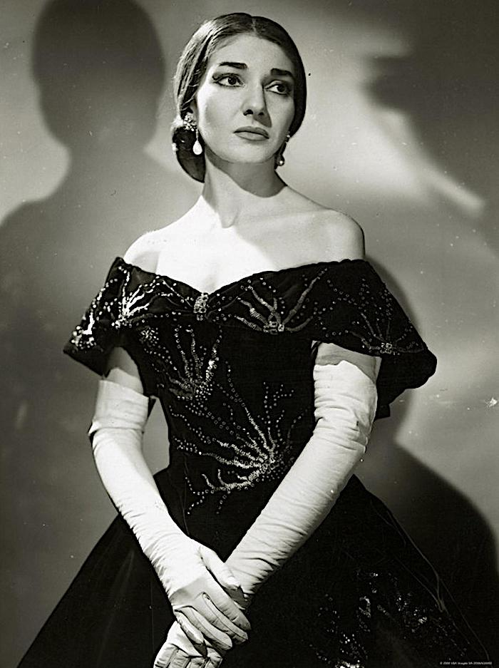 Photo from Wikipedia in public domain.  Maria Callas as Violetta in La Traviata