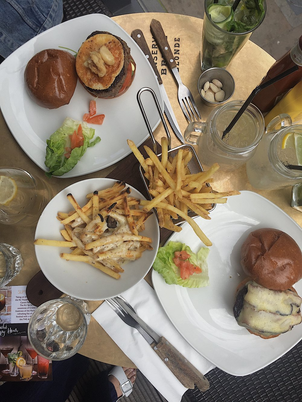Main course: Burgers and truffle fries.