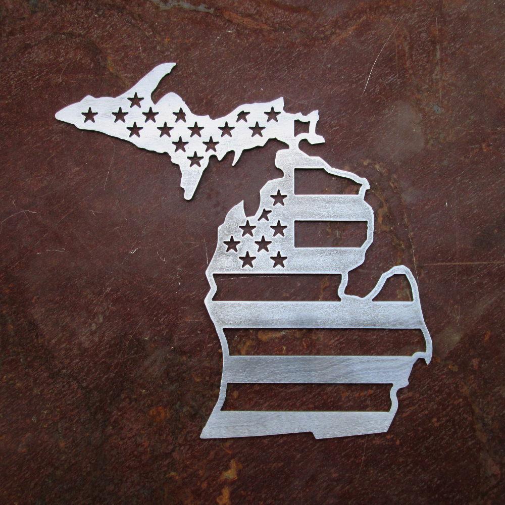 Michigan Metal Map USA Flag SPEEDCULT