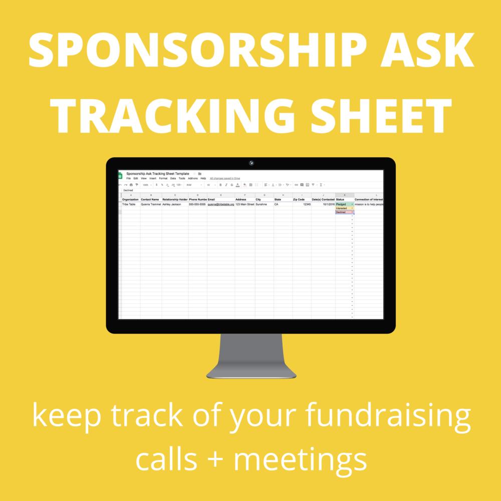 sponsorship ask tracking sheet