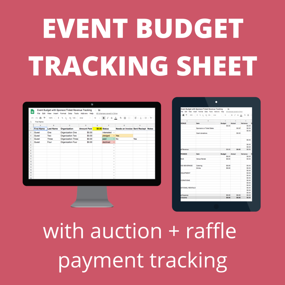event budget tracking sheet