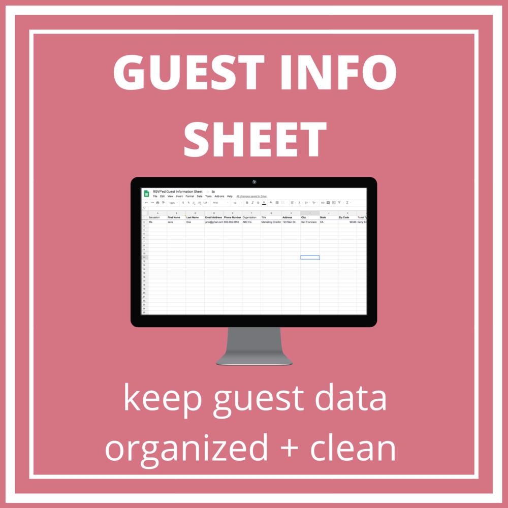 guest info sheet