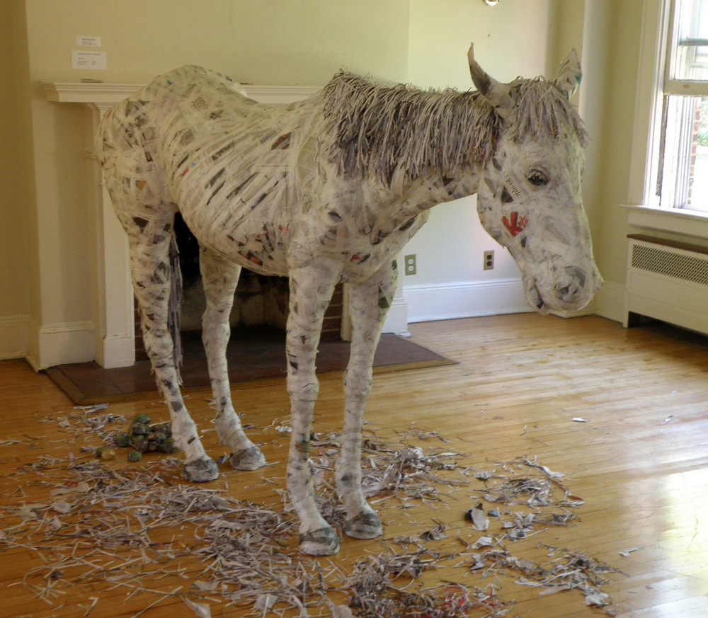 Henry, 2014 Wood, Wire, Newspaper, Tape, Glue Matte Medium 60 x 84 x 22 in.