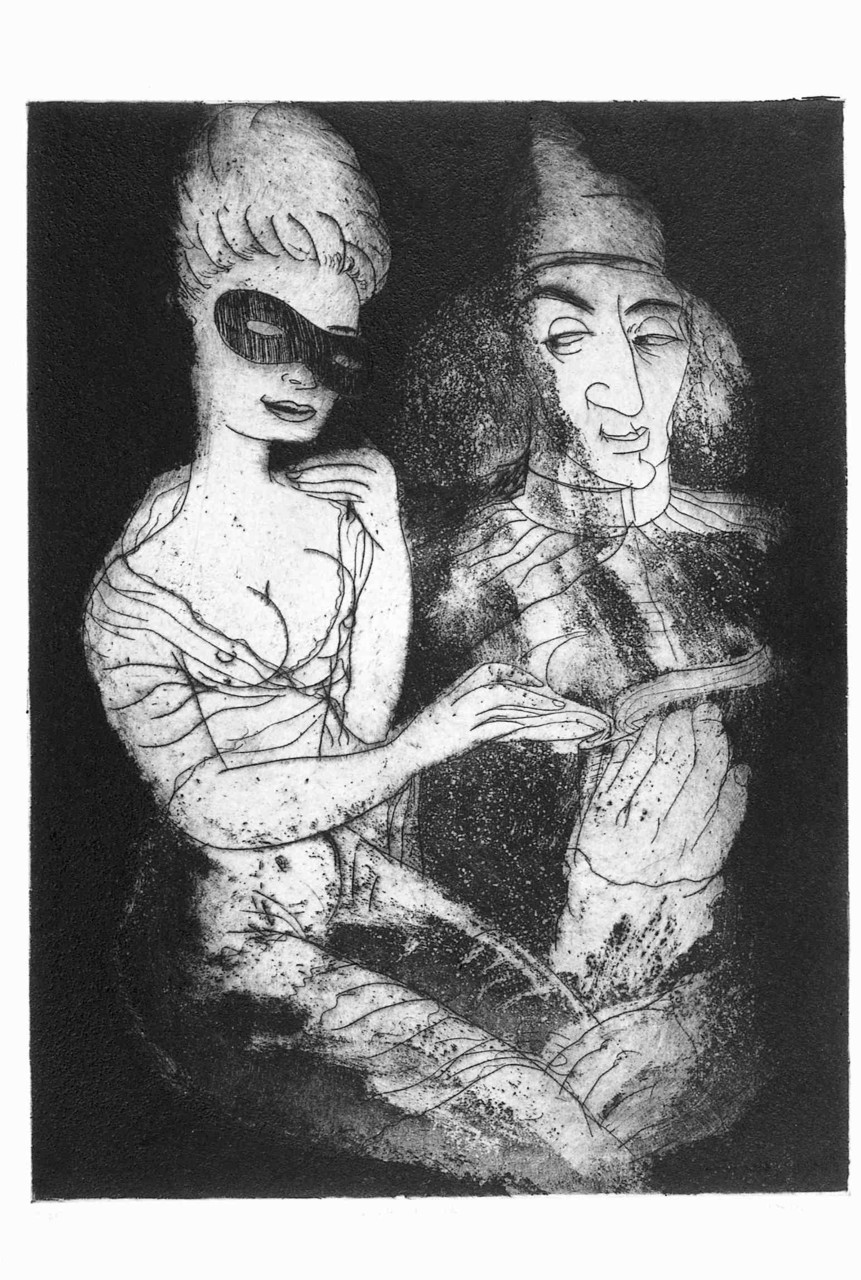 Marquis de Sade , 2001 Etching with Aquatint 24 x 18 in.