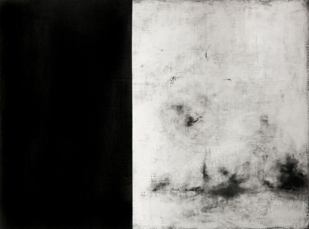 Wuthering , 2014 Gesso, Charcoal, Graphite, Pigment, Wax, Wood 48 x 36 in.