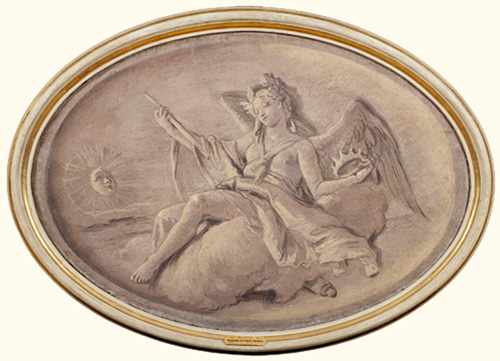 An Allegory of Victory  Fresco transferred to canvas, oval 26 x 38 in.