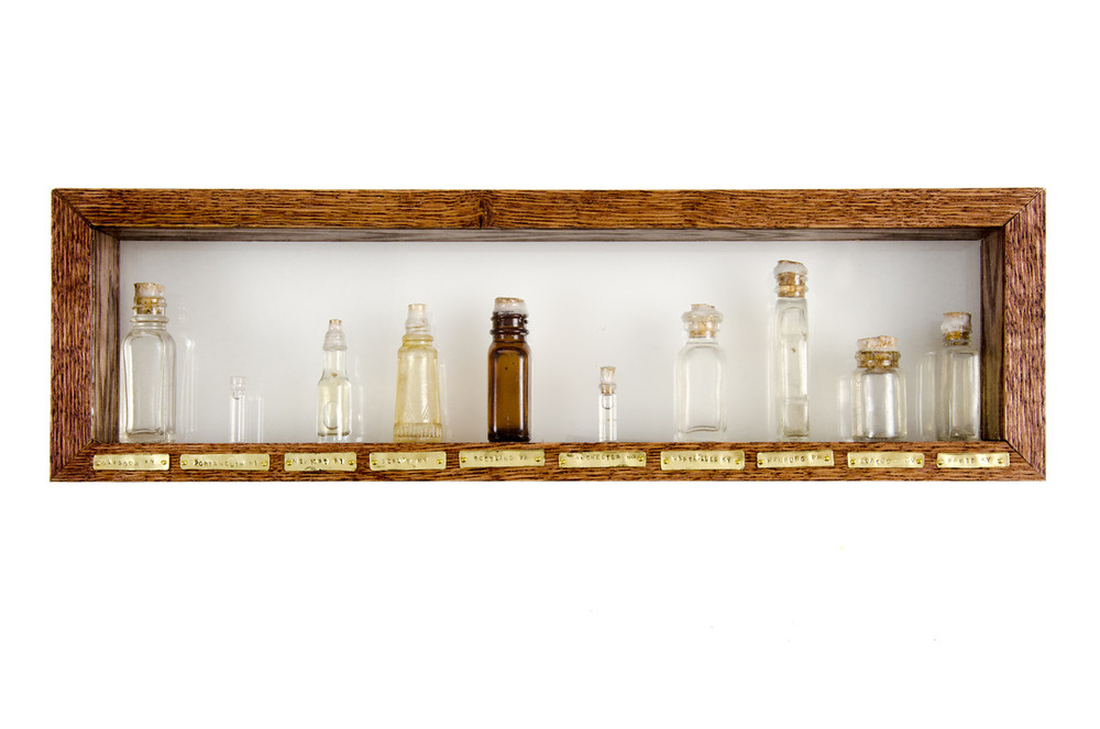 Water from American Towns with European Names, 2012 Water Samples, Found Glass Bottles, Glass Shadowbox 5.75 x 19 x 2.5 in.