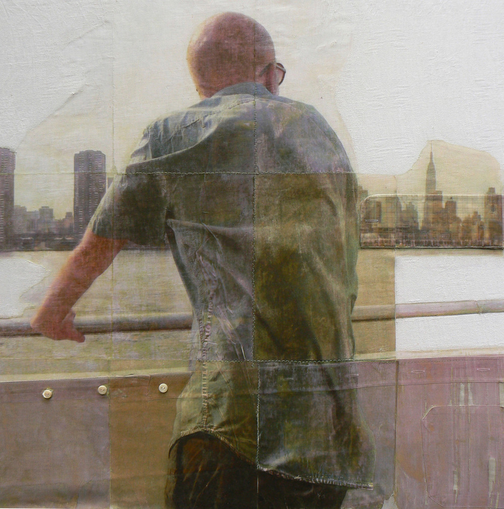 New York I , 2013 Fabric, Clothes, Photo on Paper, Buttons  28 x 28 in.