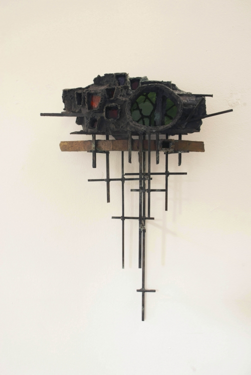 Untitled (wall sculpture) , 2012 Bronze, Glass, Steel  35 x 11 x 7 in.
