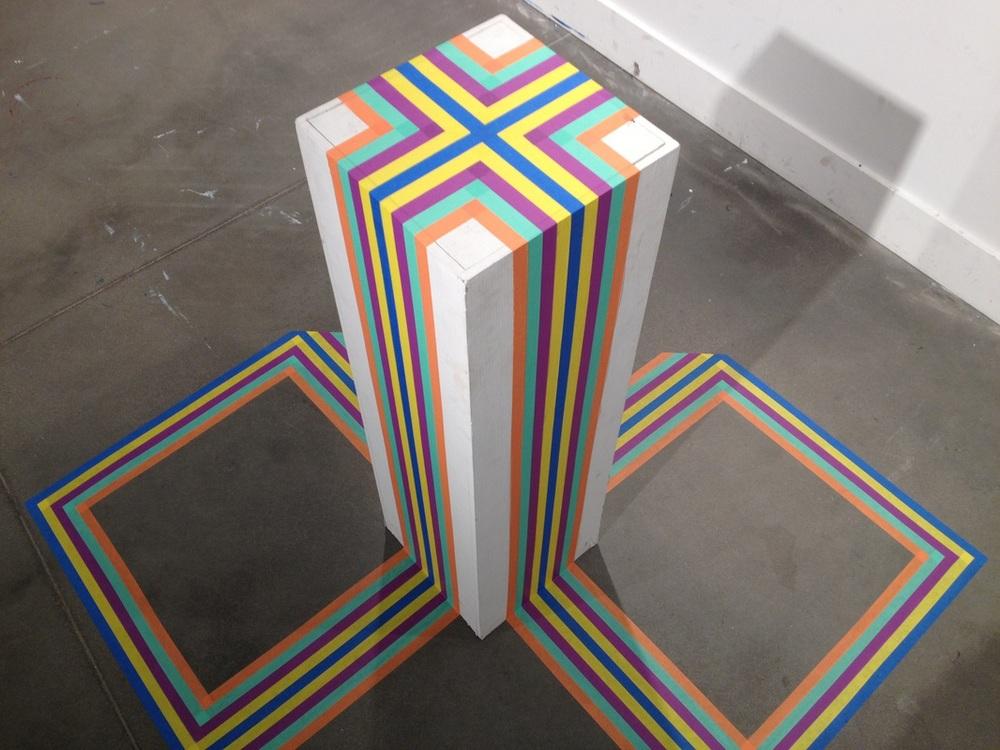 Crest, 2014 Masking tape, pedestal 5 x 5 x 4.5 ft.