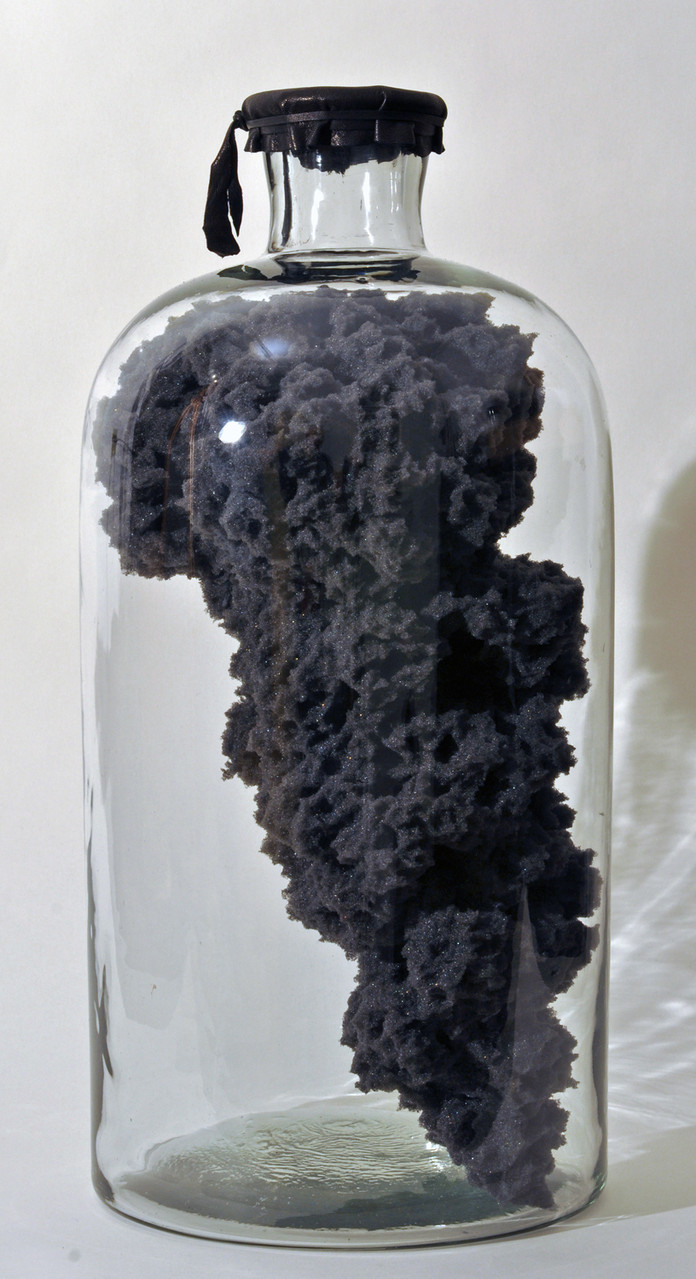 Cloud , 2014 Sponge foam, glass bottle, leather  18 x 8.5 x 8.5 in.