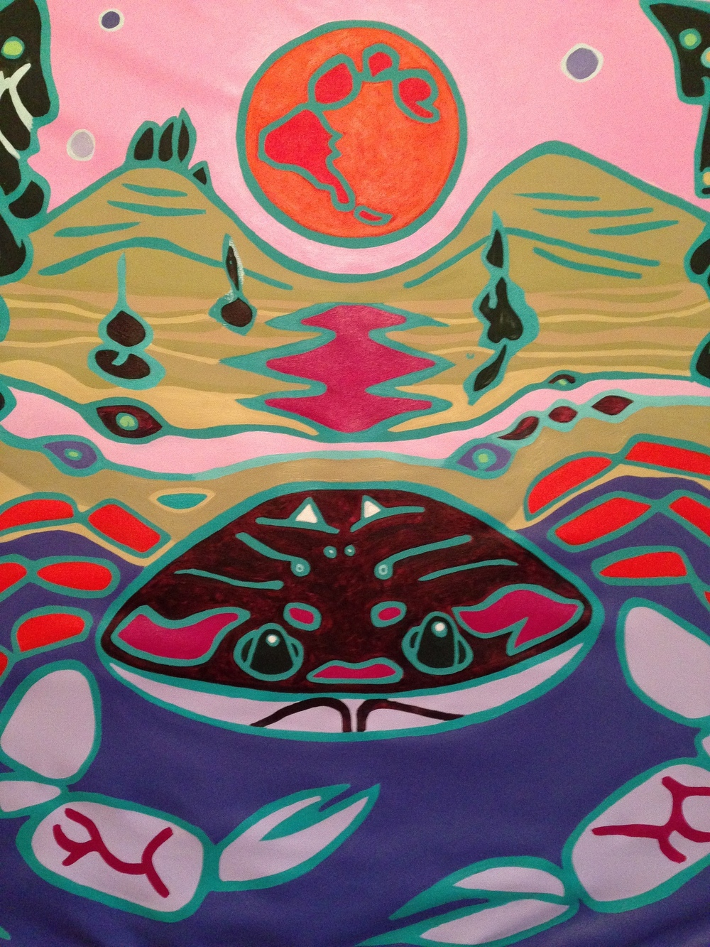 Moon Crab (2015) acrylic and emulsion on canvas, 100x80cm