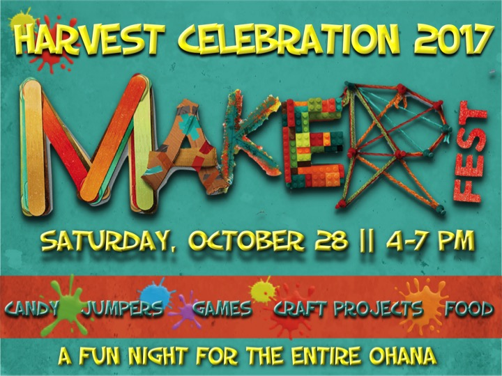 We invite you to join us for Maker Fest - Harvest 2017. It's a great night of fun, games, food, craft projects, jumpers, and candy. It's a safe and carefree alternative to Halloween. Admission: One bag of candy and one canned food item per family. Canned food will be donated to the Salvation Army's Food Pantry. Costumes are encouraged for the entire family, but you can come as you are also.