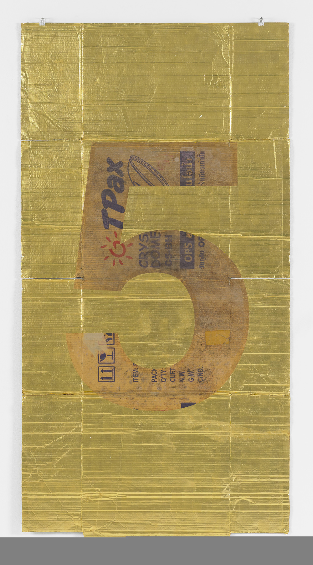 DANH VO  NUMBERS (5), 2011  GOLD LEAF ON CARDBOARD  35.5 X 79 IN  COURTESY DANIEL BUCHHOLZ, BERLIN