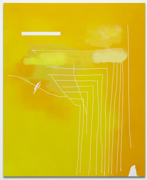 JEFF ELROD  PILOT,  2012  ACRYLIC, ENAMEL AND TAPE ON CANVAS  72 X 59 IN     COURTESY OF THE JOURNAL GALLERY, NY