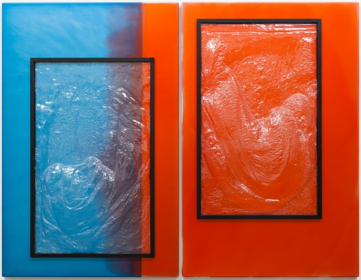 NICOLAS DESHAYES  UNTITLED, 2013  ANODISED ALUMINIUM, VACUUM FORMED PLASTIC IN 2 PANELS, EACH:   43 X 28 X 3 IN  110 X 71 X 8 CM  10,000 GBP