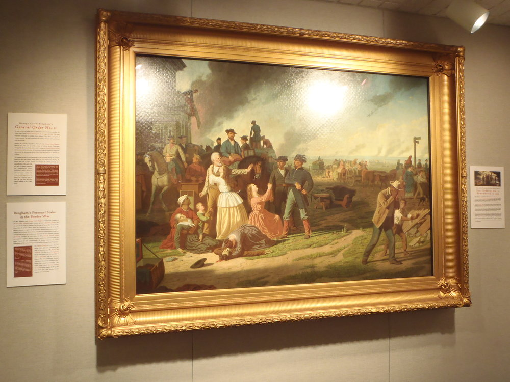 Painting by George Caleb Bingham showing the destructive General Order No. 11 at  The State Historical Society of Missouri,  University of Missouri, Columbia, Mo.