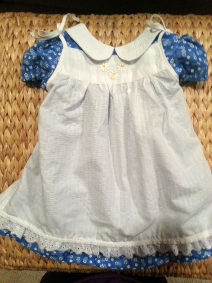 Blue daisy dress with white pinifore.jpg
