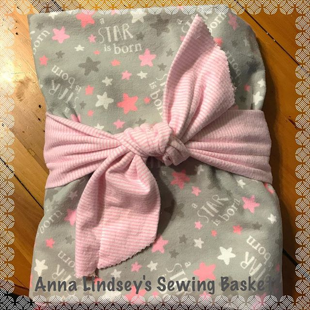 If you are looking for fun and useful wrapping for a baby gift call Anna Lindsey's Sewing Basket!  I sewed this receiving blanket to wrap this baby gift!  Nothing to throw away! Both useful  and cute!  Not to mention, it is sure to be an original! #homemade #handmade #homesewn #baby #gift #printhappens #annalindsey #annalindseysewing #clovis #fresno #custommade #originals