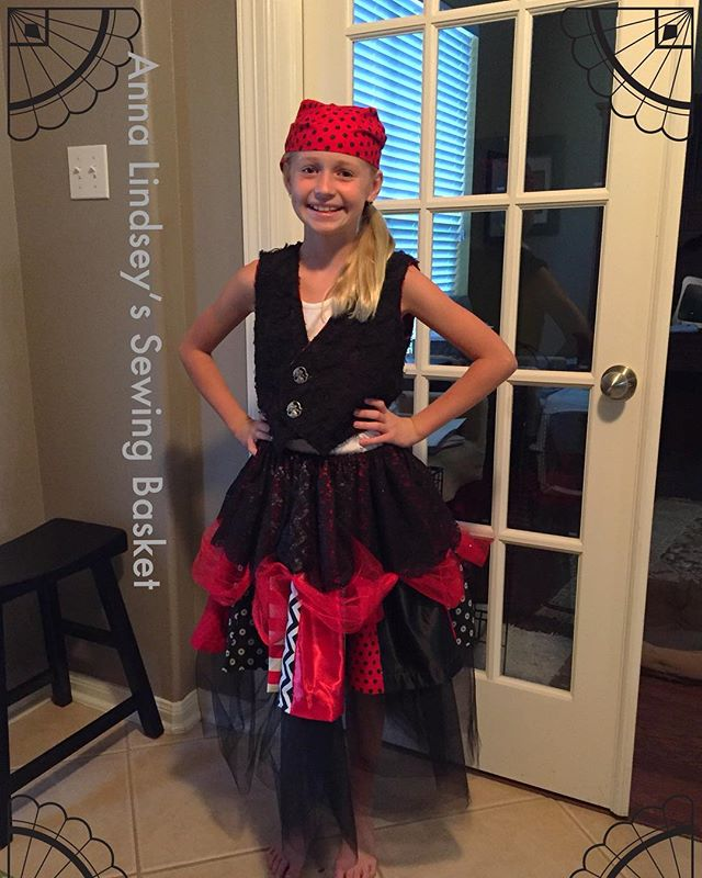 And this is what all the fun material became!! My great niece's Pirate Costume! I had so much fun! #homemade #sewing #handmade costumes #annalindseysewing #printhappens