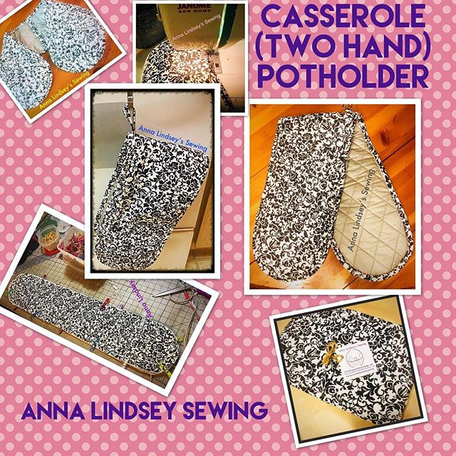 Two handed (Casserole) Potholder.  Available in a variety of colors. $20 each.  Facebook@AnnaLindseySewing #sewing #homesewn #homemade #potholders #handmade #homegoods