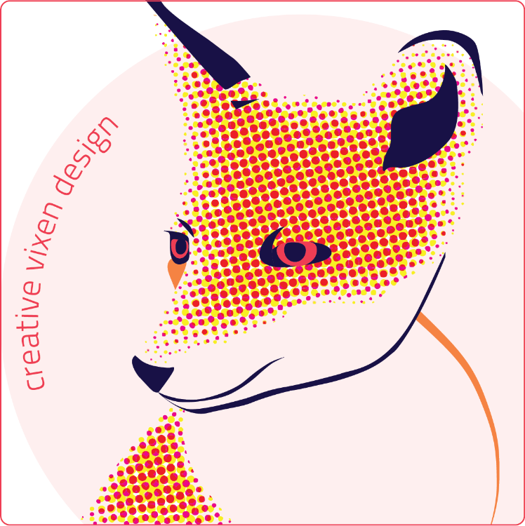 Creative Vixen Design logo (a red and yellow pop-art style fox with a pale pink circle in the background)