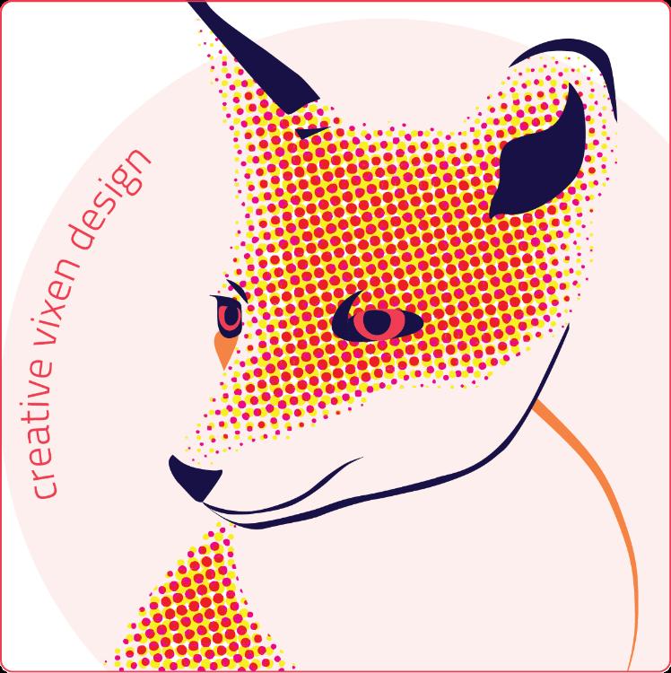 Creative Vixen Design logo (pop art fox)