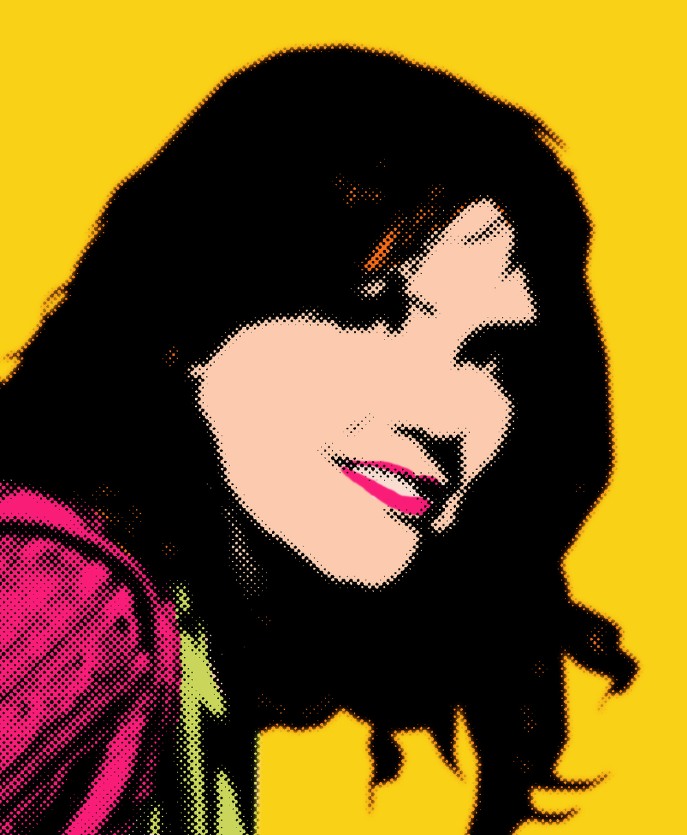 Pop art portrait of Charlotte Easterling. She has dark hair and is smiling into the camera. She's wearing a pink sweater and green t-shirt.