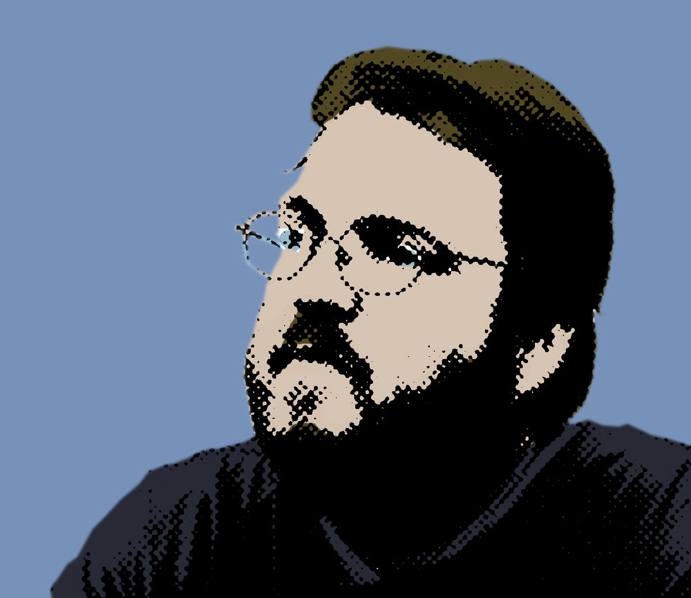 A pop-art portrait of Eric. He has medium-brown hair and a beard. He's wearing glasses and looking off-camera. His shirt and the background are blue.