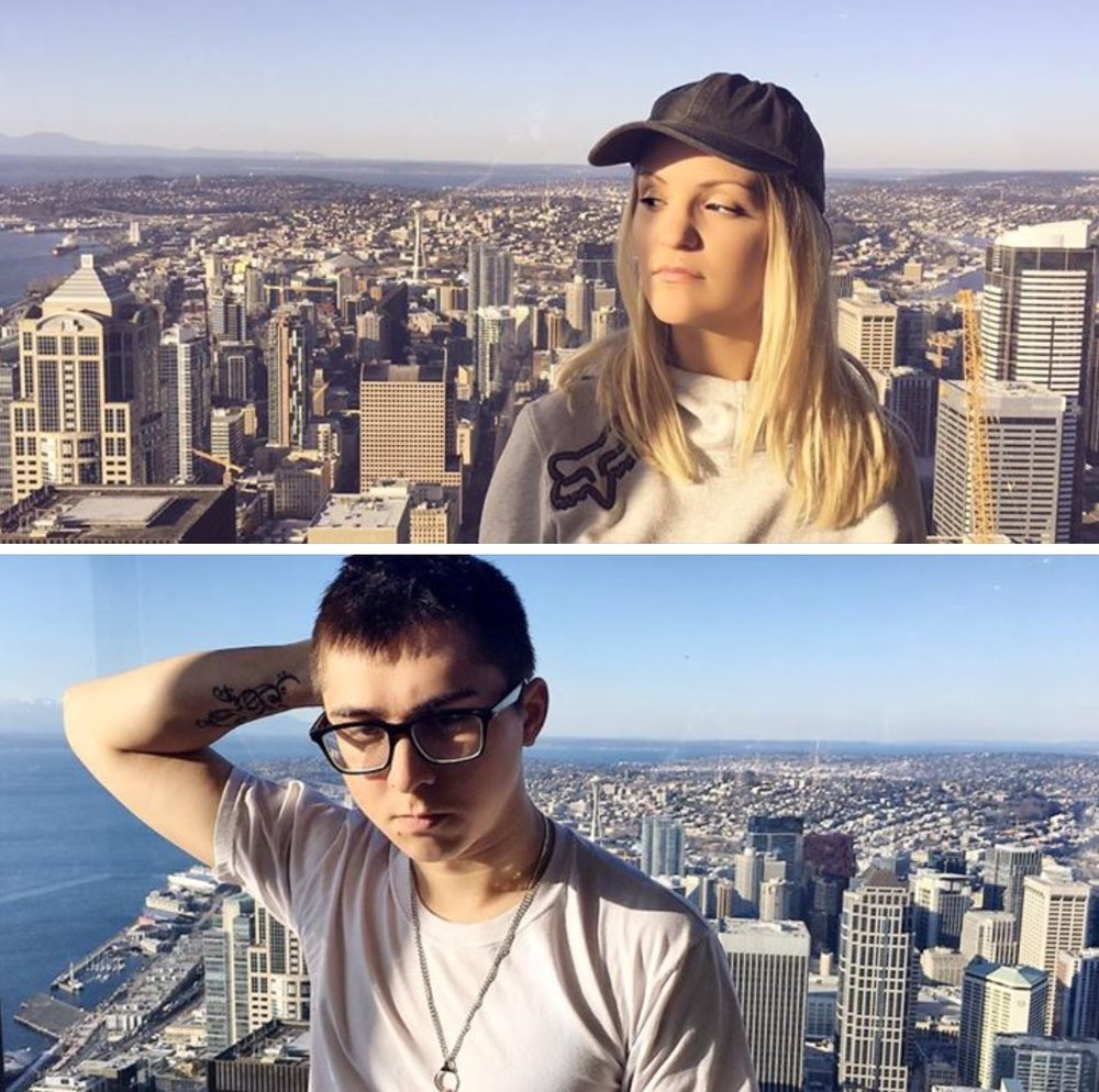 Charmae and Echo the Savage on the top floor of the tallest building in Seattle, The Columbia Tower.